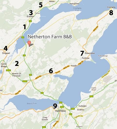 map showing Netherton Farm location and nearby restaurants